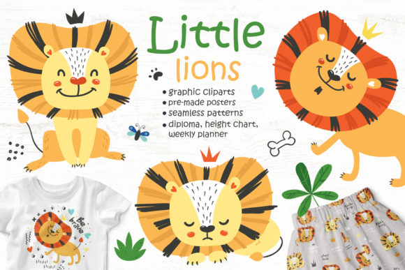 Lions Clipart and Seamless Patterns Graphic Objects By Nafanya