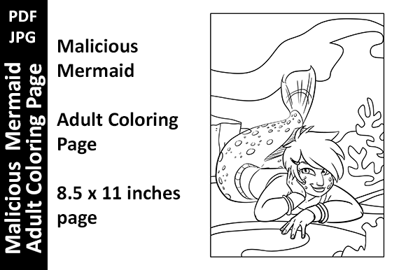 Malicious Mermaid - Adult Coloring Page Graphic Coloring Pages & Books Adults By Oxyp
