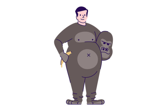 Print on Demand: Man Wearing Gorilla Costume Illustration Graphic Illustrations By bsd studio