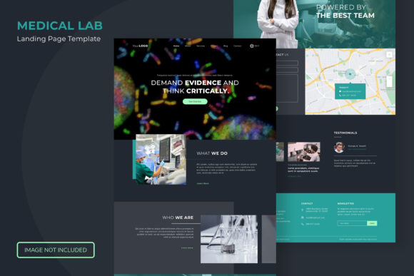 Print on Demand: Medical and Biological Lab in Dark Mode Graphic Landing Page Templates By Helotype