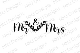 Print on Demand: Mr and Mrs SVG Wedding Clipart Gráfico Ilustraciones Por NNJ Designs