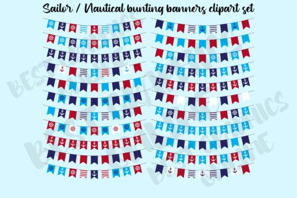 Nautical Bunting Banners Clipart Anchor Graphic Illustrations By bestgraphicsonline