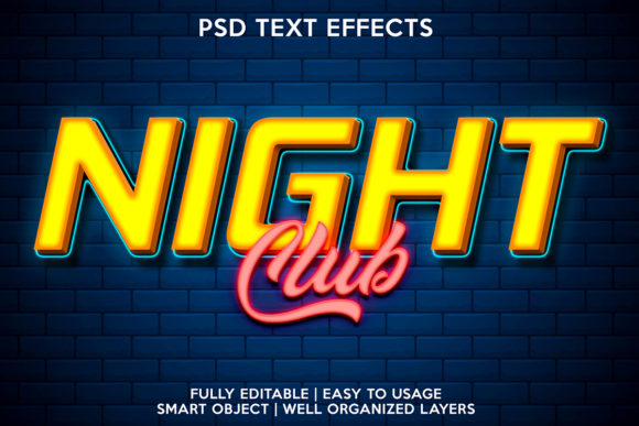 Night Club Text Effect Graphic Layer Styles By gilangkenter