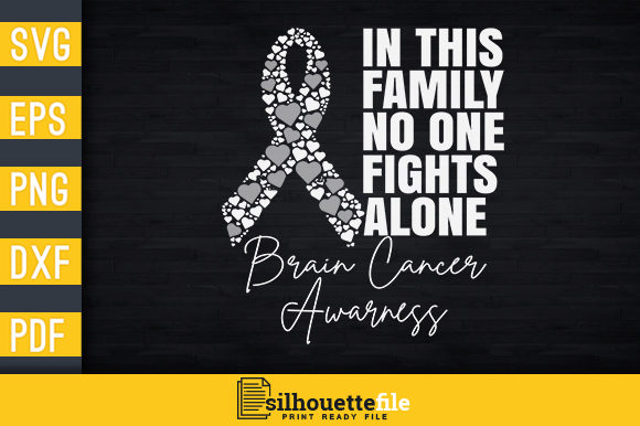 Print on Demand: No One Fights Alone Brain Cancer Graphic Print Templates By Silhouettefile