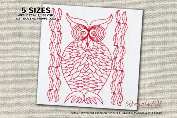 Owl Ornament Design Birds Embroidery Design By Redwork101