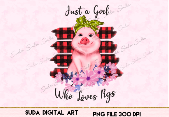 Print on Demand: Pig Pink Cute Sublimation Graphic Illustrations By Suda Digital Art