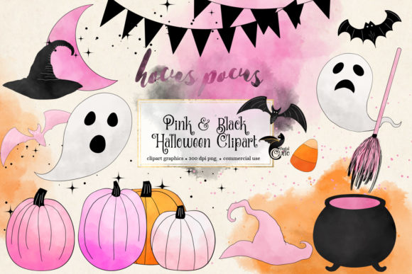 Print on Demand: Pink and Black Halloween Clipart Graphic Illustrations By Digital Curio