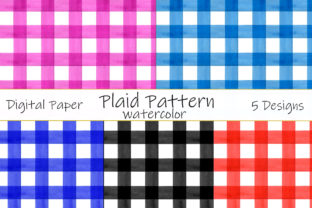 Plaid Pattern Watercolor. Vintage Cage Graphic Patterns By shishkovaiv