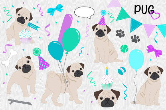 Pug - Puppy Love Birthday Pack Graphics Graphic Illustrations By LeskaHamatyDesign
