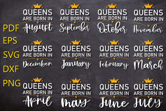 Print on Demand: Queens Are Born in Bundle Graphic Crafts By NatashaPrando