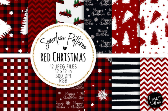 Print on Demand: Red Christmas Seamless Patterns Graphic Backgrounds By loyaarts