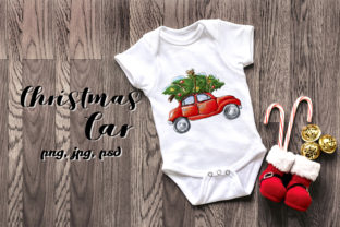Print on Demand: Retro Car is Carrying Christmas Tree Graphic Illustrations By ksenia.shuneiko