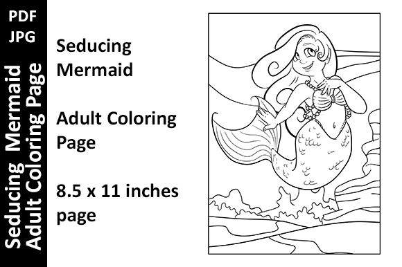Seducing Mermaid - Adult Coloring Page Graphic Coloring Pages & Books Adults By Oxyp