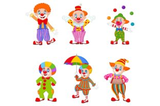 Set of Fourteen Cartoon Clowns Character Graphic Illustrations By tigatelusiji