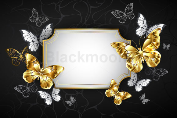Straight Banner with Golden Butterflies Graphic Illustrations By Blackmoon9