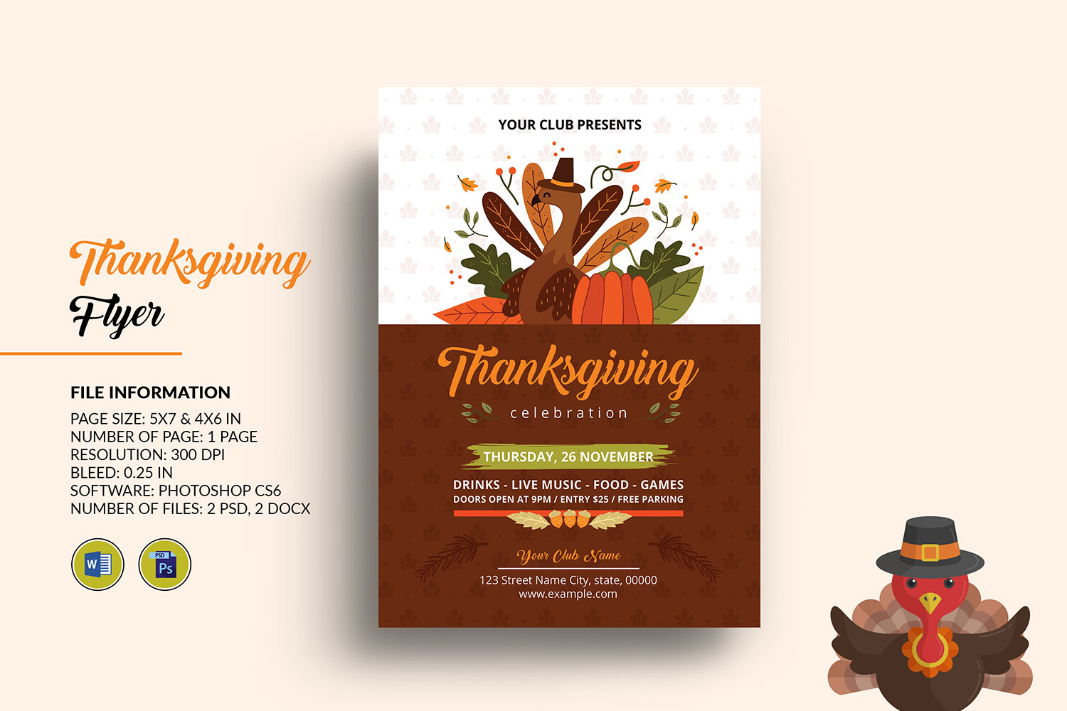 Thanksgiving Party Flyer Template Graphic By Sistecbd Creative Fabrica