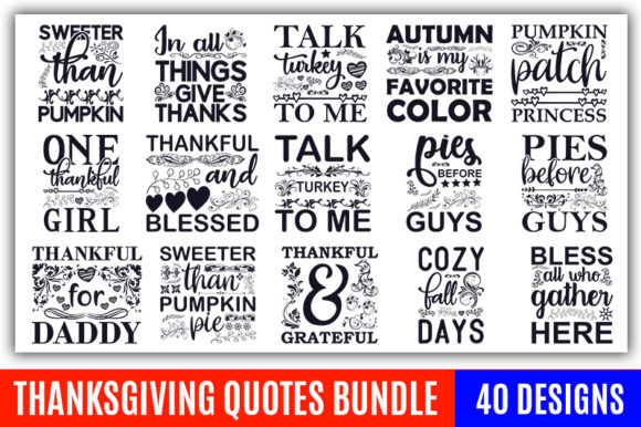 Print on Demand: Thanksgiving Quote Designs Bundle Graphic Print Templates By CraftStudio