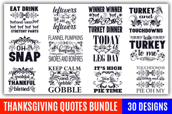 Print on Demand: Thanksgiving Quotes Designs Bundle Graphic Print Templates By CraftStudio