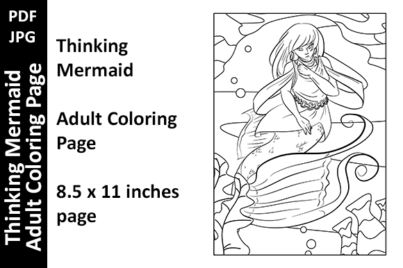 Thinking Mermaid - Adult Coloring Page Graphic Coloring Pages & Books Adults By Oxyp