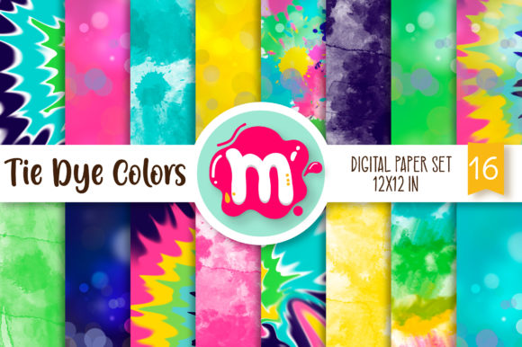 Print on Demand: Tie Dye Colors Digital Paper Set Grafik Backgrounds von Mutchi Design