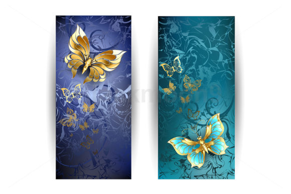 Two Banners with Gold Butterflies Graphic Illustrations By Blackmoon9