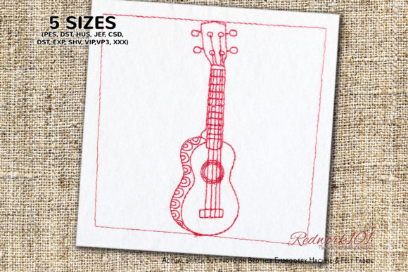 Ukulele Guitar Music Embroidery Design By Redwork101