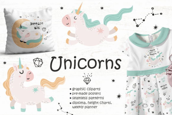 Unicorns Clipart & Pattern & Poster Graphic Objects By Nafanya
