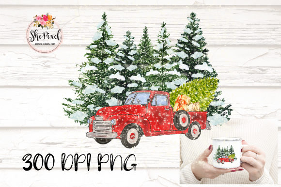 Print on Demand: Vintage Christmas Truck Tree Clipart Grafik Illustrationen von ShePixel