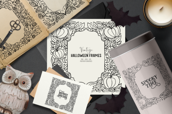 Print on Demand: Vintage Halloween Clipart Frames Graphic Illustrations By Wallifyer
