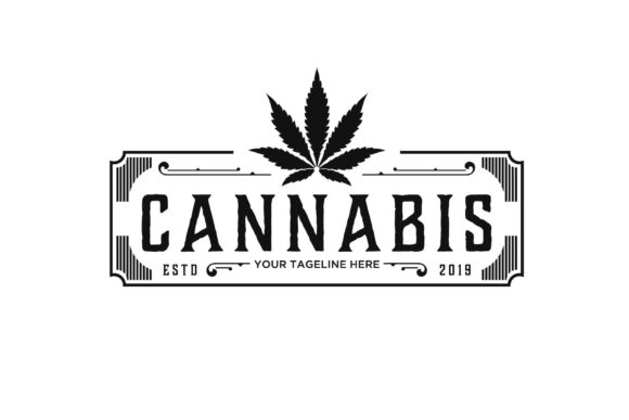 Vintage Retro Cannabis Rectangle Logo Graphic Logos By sore88