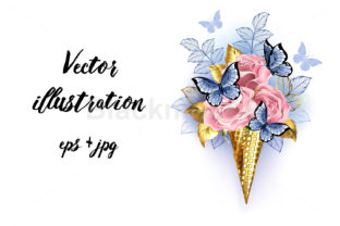 Waffle Cone with Pink Roses Graphic Illustrations By Blackmoon9