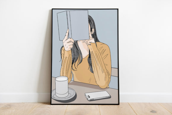 Print on Demand: Wall Art a Girl Sitting in a Cafe Graphic Illustrations By Saydung89