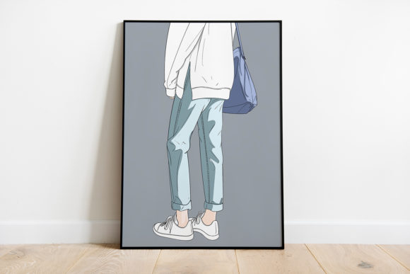 Print on Demand: Wall Art Fashion Girl in Outdoor Graphic Illustrations By Saydung89