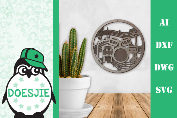 Wall Art Drum Kit Layers Graphic 3D SVG By doesjie
