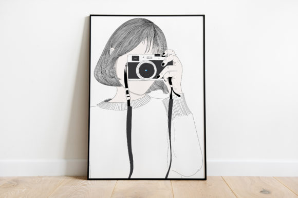 Print on Demand: Wall Art Girl Likes Taking Pictures Graphic Illustrations By Saydung89