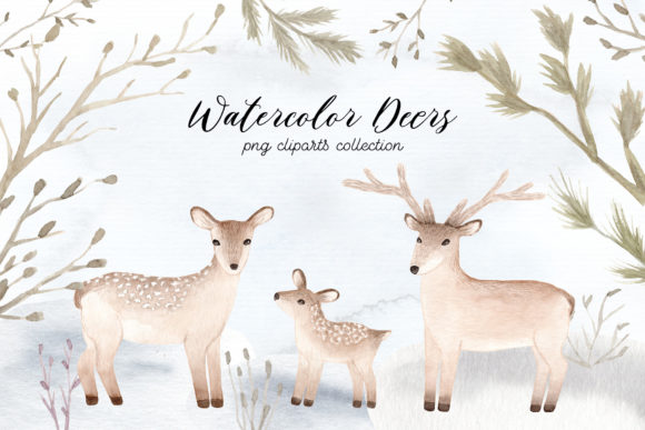 Watercolor Christmas Deers Cliparts Graphic Illustrations By Slastick