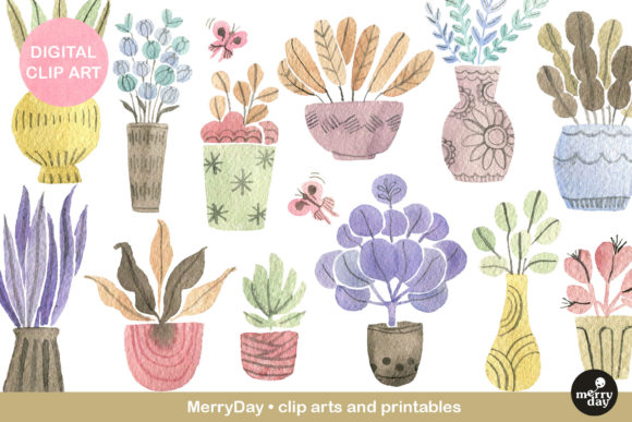 Watercolor Plants in Vintage Pastel Graphic Illustrations By MerryDay