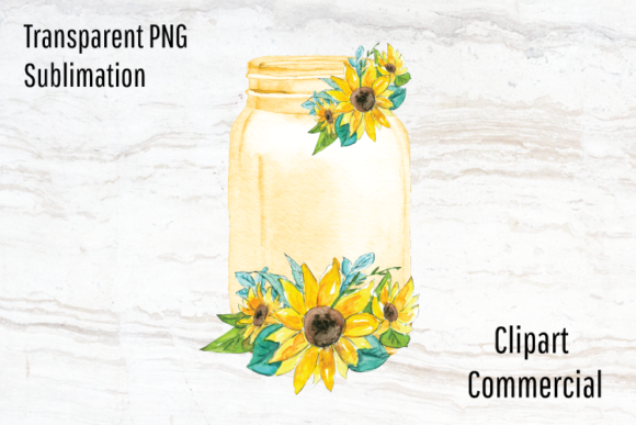 Print on Demand: Watercolor Sunflower Mason Jar Clipart Graphic Graphic Templates By Blueberry Jam Design