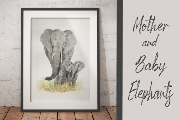 Watercolour Mother and Baby Elephants Graphic Illustrations By tatibordiu