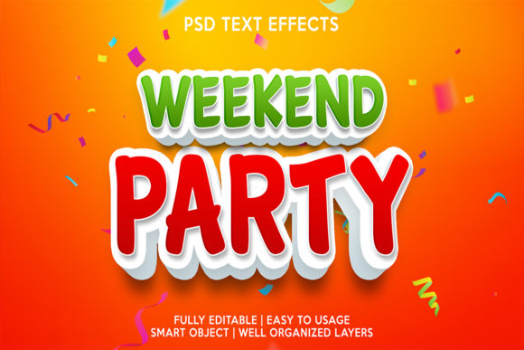 Weekend Party Text Effect Gráfico Estilos de capas Por gilangkenter