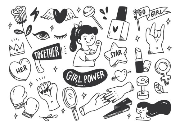 Girl Power Concept in Doodle Style Graphic Illustrations By Big Barn Doodles