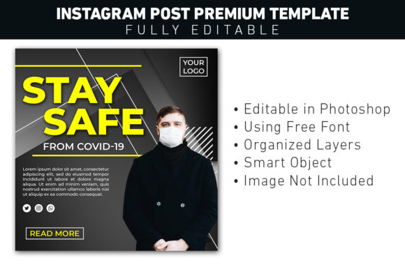 Instagram Post Covid Stay Safe Graphic Graphic Templates By ant project template