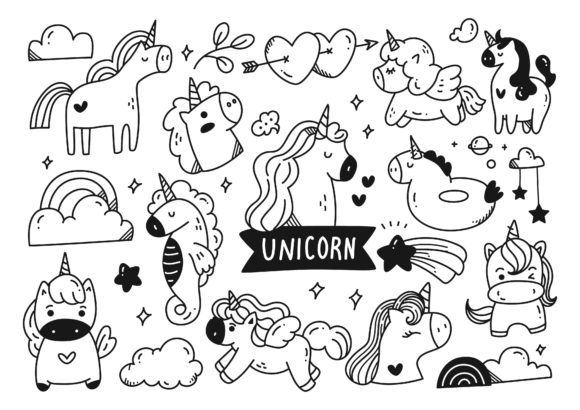 Set of Cartoon Unicorn Doodle Graphic Illustrations By Big Barn Doodles