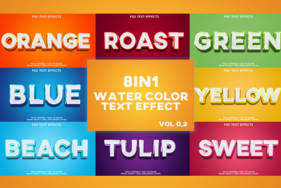 Text Effect 8 in 1 Watercolor Graphic Layer Styles By gilangkenter