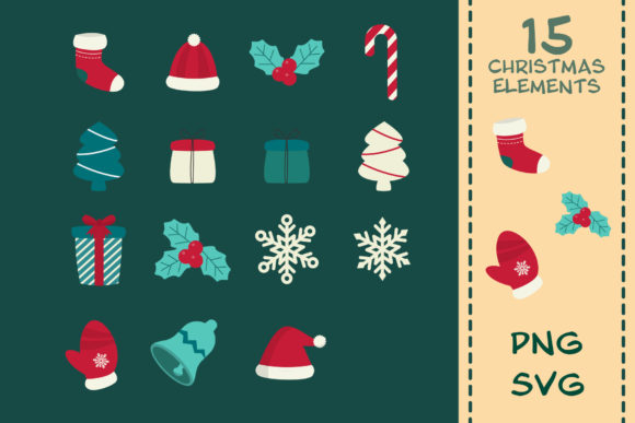 Print on Demand: 15 Christmas Clipart Elements Graphic Illustrations By IsaraDesign