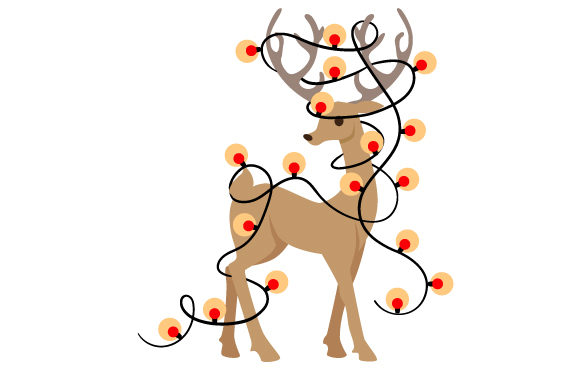 Reindeer Wrapped in Christmas Lights Cut File