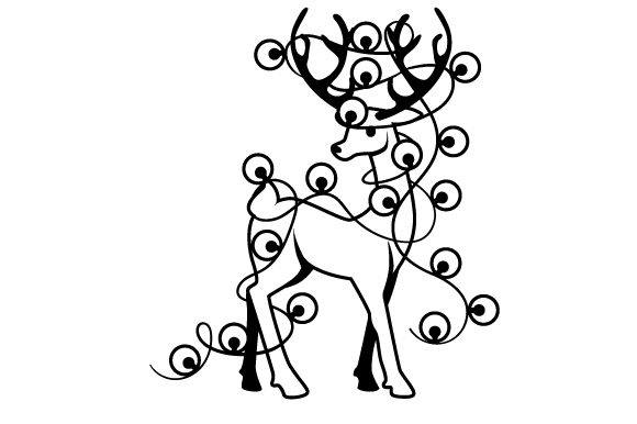 Reindeer Wrapped in Christmas Lights Cut File Download