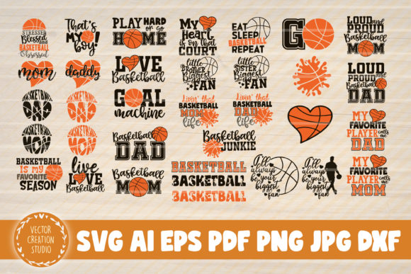Print on Demand: 34 Basketball Quotes Svg Clipart Bundle Graphic Crafts By VectorCreationStudio