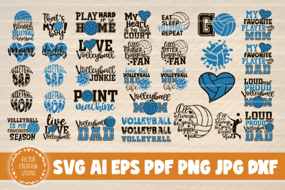 Print on Demand: 34 Volleyball Quotes Svg Clipart Bundle Graphic Crafts By VectorCreationStudio