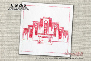 Albuquerque New Mexico Temple Redwork Mexico Embroidery Design By Redwork101